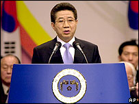 South Korean President Roh Moo-hyun speaks during the 86th anniversary ceremony of Independence Movement Day against Japan, at Ehwa Woman High School in Seoul, Tuesday, March 1, 2005