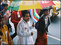 Men during gay march in Calcutta