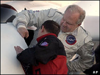 Fossett climbs into his cockpit (AP)