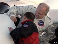Fossett climbs into his cockpit (AP)
