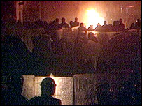Scene from the Broadwater Farm Estate riots in 1985