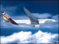 Artist's impression of the Airbus A350