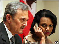 Saudi Foreign Minister Saud al-Faisal, left, and US Secretary of State Condoleezza Rice