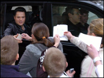 Donny Osmond mobbed by fans in Merthyr