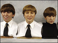 Wax heads of George Harrison, John Lennon and Ringo Starr