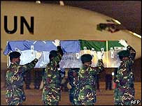 The coffin of one of the Bangladeshi troops