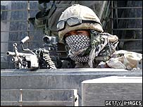 British soldier on lookout duty in Basra