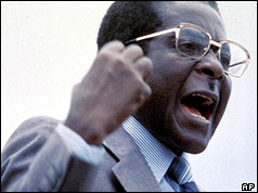 Robert Mugabe speaking at a rally in 1980