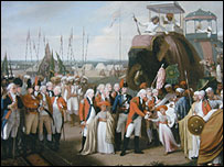 Lord Cornwallis accepting the surrender of Tipu Sultan's forces