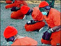 Detainees at Guantanamo Bay in 2001