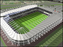 Artist impression of the unnamed Swansea stadium