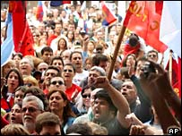 Crowds of supporters celebrate the inauguration of Tabare Vazquez