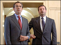 Robert Lindsay and Bernard Hill as Tony Blair and David Blunkett