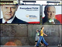 Billboards showing Donald Tusk (left) and Lech Kaczynski