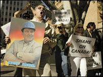 Supporters for the German Holocaust-denier Ernst Zundel rally outside the Canadian consulate in Los Angeles