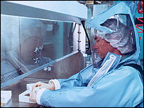 Research at biosafety level four facility     Image: CDC