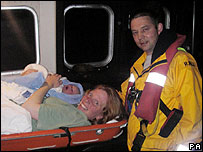 Rachel Holliday, baby and lifeboat man