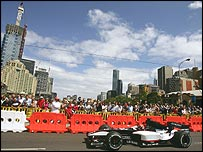 Minardi took part in a demonstration through the streets of Melbourne on Wednesday