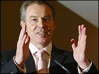 Tony Blair at his monthly media briefing