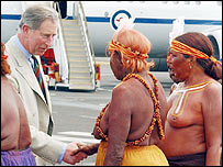 Prince Charles receives an Aboriginal welcome in Alice Springs