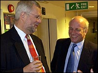 Former BBC chairman Gavyn Davies with former director general Greg Dyke
