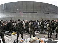 Troops outside the Superdome