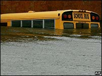 Bus on flooded New Orleans street