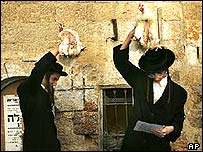 Orthodox Jews wave chickens above their head to cleanse their sins