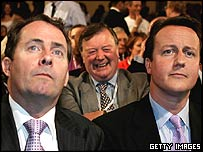 Liam Fox, Ken Clarke and David Cameron listen to Michael Howard's speech