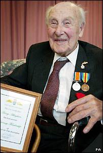 Henry Allingham after receiving the Fleet Air Arm honour