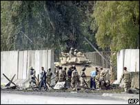 Scene of the blast at an Iraqi army base in Baghdad on Wednesday