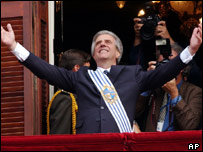 Uruguay's President Tabare Vazquez greets the people fom the balcony of the Government Palace in Montevideo