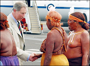 Prince Charles was greeted at the airport by six Aboriginal women from the Arrente tribe in Papunya