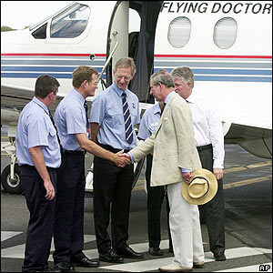 The prince meets members of the Royal Flying Doctor Service