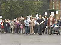 Pensioners protesting on street