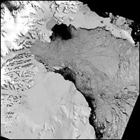 Satellite image of ice shelf break-up in Antarctica.  Image: Bas
