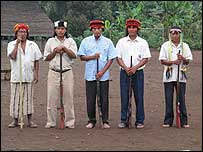 Achuar tribesmen in Ecuador (courtesy of Earthrights International)