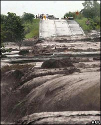 A destroyed road in Guatemala