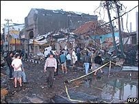 Scene of the bombing in Kuta, Bali, in 2002