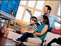 Family with a Windows Media Center PC