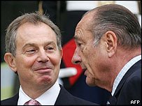 UK PM Tony Blair with President Jacques Chirac at the Elysee, 7 Oct 05
