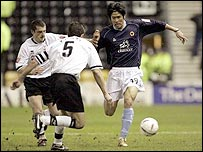 Wolves' Ki hyeon Seol takes on the Derby defence