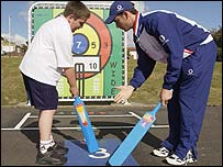 England cricketer James Foster helps promote the 'Playground markings to boost school sport scheme'