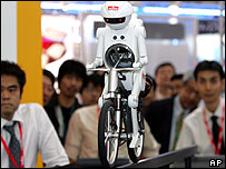 Image of a cycling robot at this week's Japanese tech fest, Ceatec