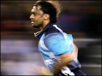 Shoaib Akhtar in action at the ICC Super Series in Melbourne