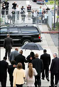 Michael Jackson arriving in court in Santa Maria