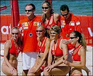 Schumacher and Barrichello with the Australian Beach Volleyball team