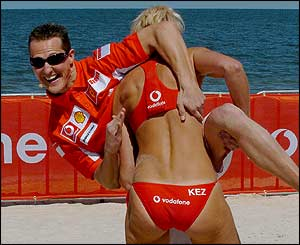 Schumacher gets to grips with Kerri Pottharst