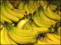 Bananas on supermarket shelves