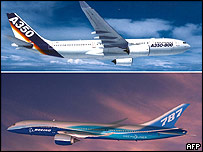 Artist impressions of Airbus A350 (top) and Boeing 787 Dreamliner (bottom)